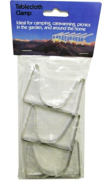 6 x TABLECLOTH CLIPS (1 pack) tablecover holder   camping caravan boating